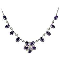 Antique Victorian Amethyst Pearl Necklace Silver Circa 1890