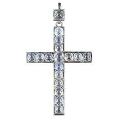Antique Georgian Paste Cross Pendant Silver Circa 1800