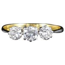 Antique Edwardian Diamond Ring Trilogy 18ct Plat Circa 1915