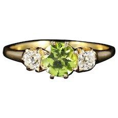 Antique Victorian Peridot Diamond Ring Trilogy 18ct Gold Circa 1890