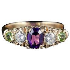 Antique Victorian Suffragette Ring Diamond Amethyst Peridot Circa 1900