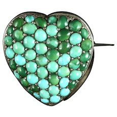 Antique Victorian Turquoise Heart Locket Silver Brooch Circa 1900
