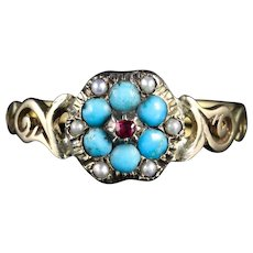 Antique Georgian Turquoise Ruby Pearl Ring Gold Circa 1810