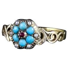 Georgian Turquoise Ruby Pearl Ring 9ct Gold
