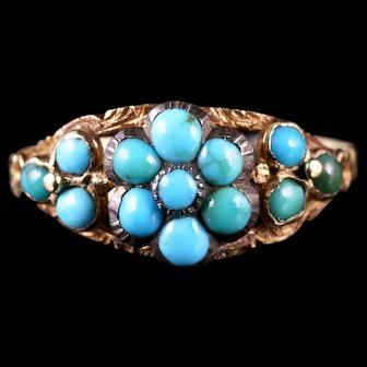 Antique Georgian Turquoise Cluster Flower Ring Gold Circa 1810