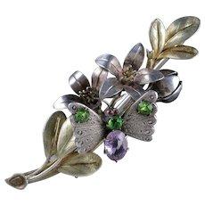 Antique Victorian Suffragette Butterfly Brooch Silver Fuchsia Circa 1890