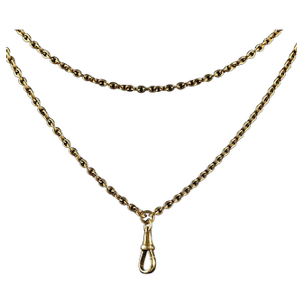 Antique Victorian Muff Chain 18ct on Silver Circa 1880