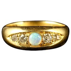Antique Victorian Opal Diamond Ring 18ct Dated Birmingham 1909