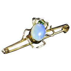 Antique Victorian Opal Spider Brooch 9ct Gold Circa 1880
