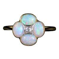 Antique Victorian Opal Diamond Ring 18ct Platinum Circa 1880