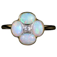 Antique Victorian Opal Diamond Ring 18ct Platinum Circa 1880