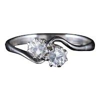 Antique Edwardian Diamond Twist Ring Platinum 18ct Gold Circa 1915