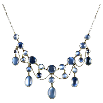 Antique Victorian Moonstone Garland Necklace 9ct Circa 1890