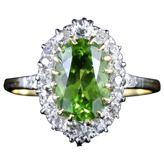 Antique Victorian Peridot Diamond Ring 18ct Gold Circa 1900