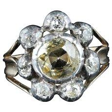 Antique GeorgianYellow TopazDiamond Ring Circa 1780 Gold Silver