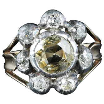 Antique Georgian Yellow Topaz Diamond Ring Circa 1780 Gold Silver