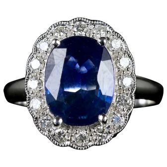 Antique Sapphire Diamond Ring Platinum Circa 1900-1930