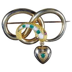 Antique Victorian Snake Heart Brooch 18ct Circa 1860