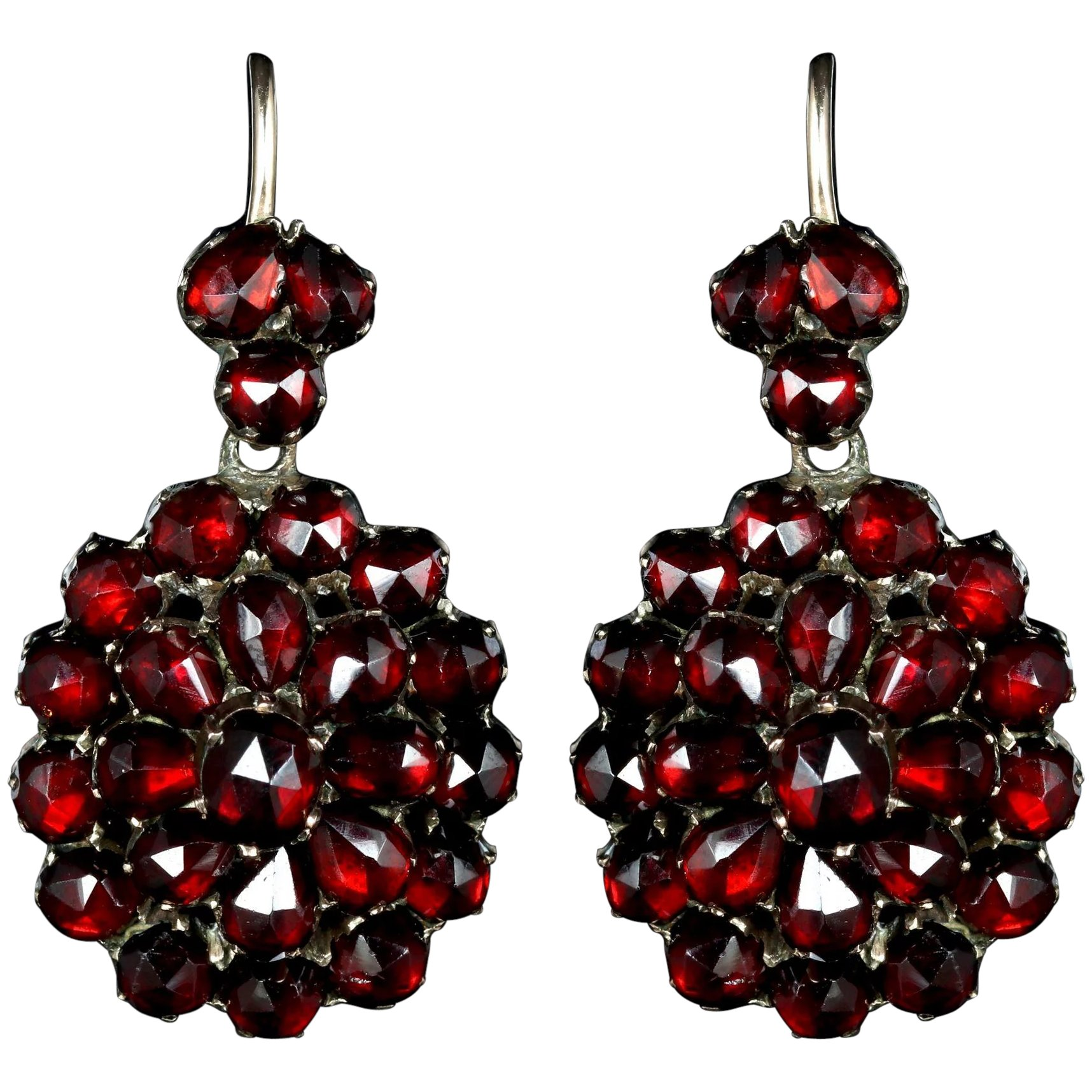 Antique Victorian Bohemian Garnet Earrings Gold Circa 1880 Click To Expand