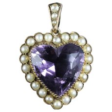 Antique Victorian Amethyst Pearl Heart Pendant 9ct Gold Circa 1880