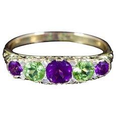 Antique Victorian Suffragette Ring Amethyst Peridot Diamond Circa 1900