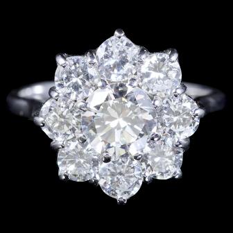 Antique 2ct Diamond Cluster Ring Engagement Ring 18ct Circa 1915