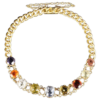Antique Victorian Gemstone Bracelet 15ct Gold Circa 1890