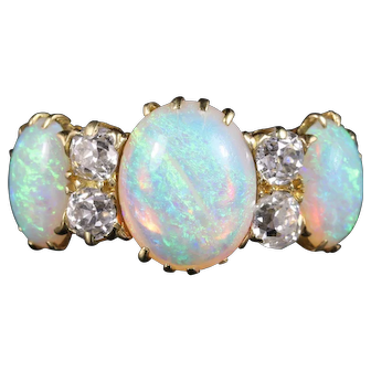 Antique Victorian Opal and Diamond Ring 18ct Gold Circa 1880