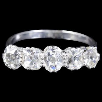 Antique Edwardian 5 Stone Diamond Ring 18ct Fancy Cuts Circa 1915