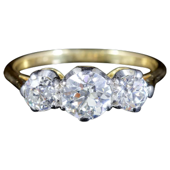 Antique Victorian Diamond Trilogy Ring 18ct Gold Circa 1900