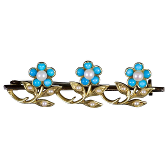 Antique Victorian Turquoise Pearl Brooch 18ct Gold Circa 1880