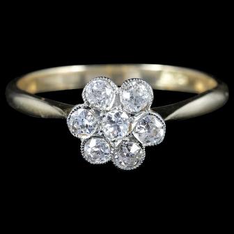 Antique Edwardian Diamond Cluster Ring Engagement Circa 1915