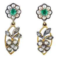 Emerald Pearl Diamond Earrings 18ct Gold Silver
