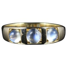 Antique Victorian Moonstone Trilogy Ring 18ct Gold Circa 1880