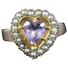 Antique Victorian Amethyst Pearl Heart Ring Circa 1880 18ct Gold