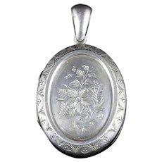 Antique Victorian Silver Locket Bird Motifs Circa 1880