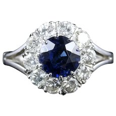 Antique Edwardian Sapphire Diamond Cluster Ring Engagement 18ct White Gold