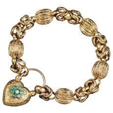 Antique Victorian Turquoise Heart Padlock Bracelet Pinchbeck Circa 1900
