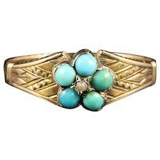 Antique Georgian Turquoise Pearl Ring 18ct Gold Circa 1800