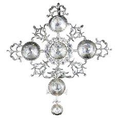 Antique Georgian French Rock Crystal Pendant Large Silver Circa 1780