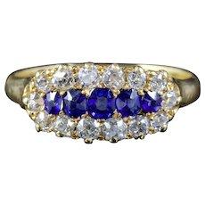Antique Victorian Sapphire Diamond Ring 18ct Circa 1880