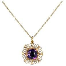 Antique Victorian Amethyst Pearl Necklace 18ct Gold Circa 1860