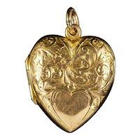 Antique Edwardian Heart Locket 9ct Dated 1904