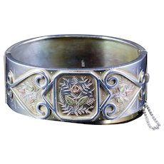 Antique Victorian Forget Me Not Bangle Silver Circa 1880
