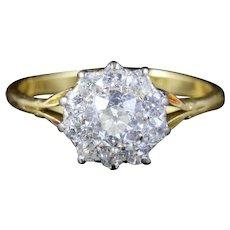 Antique Victorian Diamond Cluster Ring 1.30ct 18ct Platinum Circa 1880