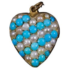 Antique Victorian Turquoise Pearl Heart Pendant Circa 1880