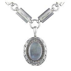 Antique Victorian Silver Locket and Collar Circa 1880