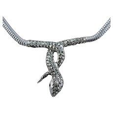 Marcasite Paste Silver Snake Necklace