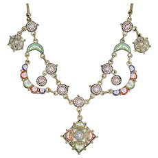 Antique Victorian Micro Mosaic Necklace Circa 1880