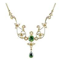 Antique Victorian Peridot Pearl Necklace 15ct Circa 1900